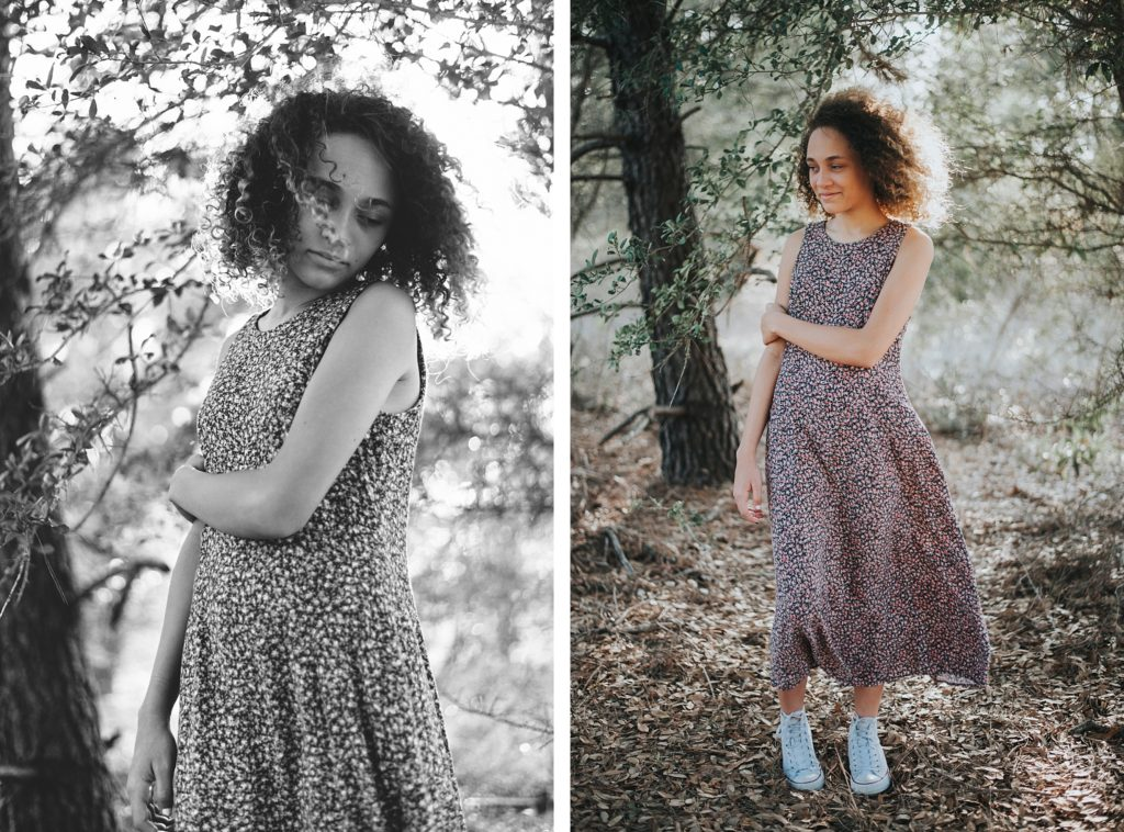Two portraits of girl in flower dress